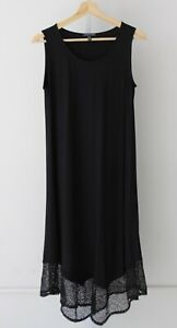 EILEEN-FISHER-Scoop-Neck-Calf-Length-Midi-Dress-Lace-Hem-Viscose-Jersey-Black-XS