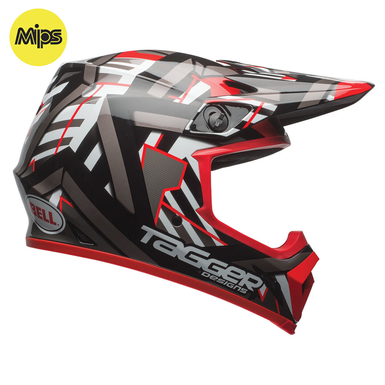 Bell Mx-9 Mips Motocross Mx Fahrradhelm - Tagger Double Trouble Schwarz Rot