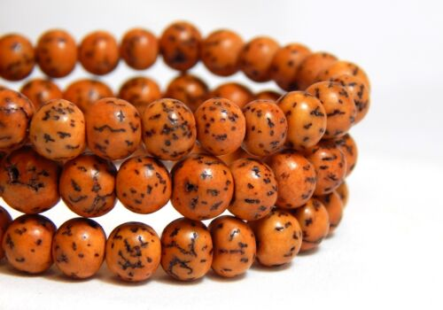 6mm Rust Orange Salwag Seed Beads Natural Dyed Bodhi Nut Full Strand D-F9