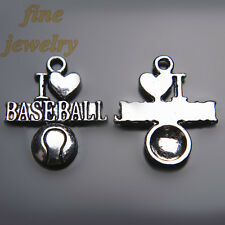 20Pcs 22mm Charms I love Baseball Sport Pendant Tibet Silver DIY Jewelry  7248