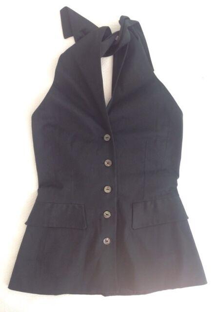 NWOT Kenzo Paris Black Cotton Stretch Button Up Halter Top Blouse Sz 38 $495