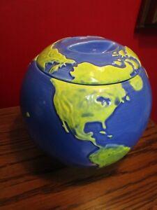 1991-HEART-AND-HOME-WORLD-GLOBE-COOKIE-JAR-8-X-8-034