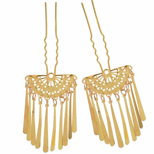 Women Hairpin Hair Clip Golden Japanese Fan Tassels for Kimono Geisha Kanzashi