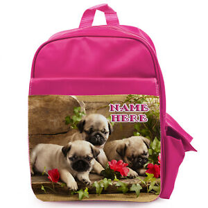 PUG-School-Bag-Girls-Backpack-Puppy-Childrens-Pink-Rucksack-Personalised-SH198