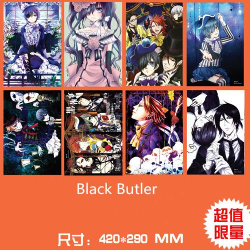 8PCS//set Japan Anime Black Butler Kuroshitsuji Wall Poster Print 49*29cm Decals