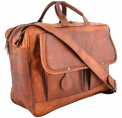 Men/'s Genuine Vintage Durable Leather Messenger Shoulder Laptop Bag Briefcase