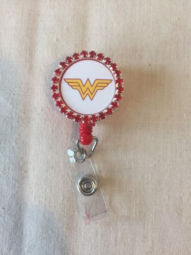 Wonder Women Red Rhinestone Retractable Reel ID Badge Holder Lanyard Hook #2logo