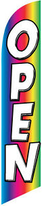 OPEN rainbow Feather Banner Swooper FLAG KIT- INCLUDES POLE KIT & SPIKE