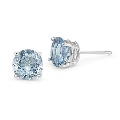 14K SOLID WHITE GOLD MARCH LIGHT BLUE AQUAMARINE ROUND SHAPE STUD EARRINGS PUSH