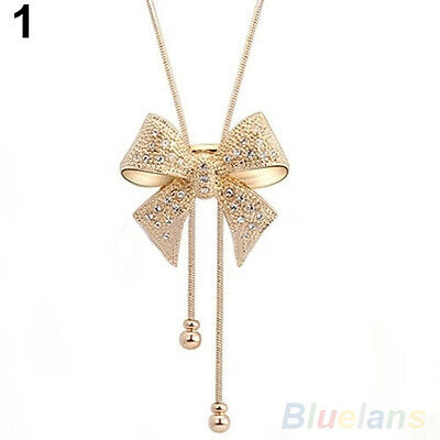 Sweet Crystal Rhinestone Bowknot Pendant Necklace Chain Nice Gift for Girl Lady