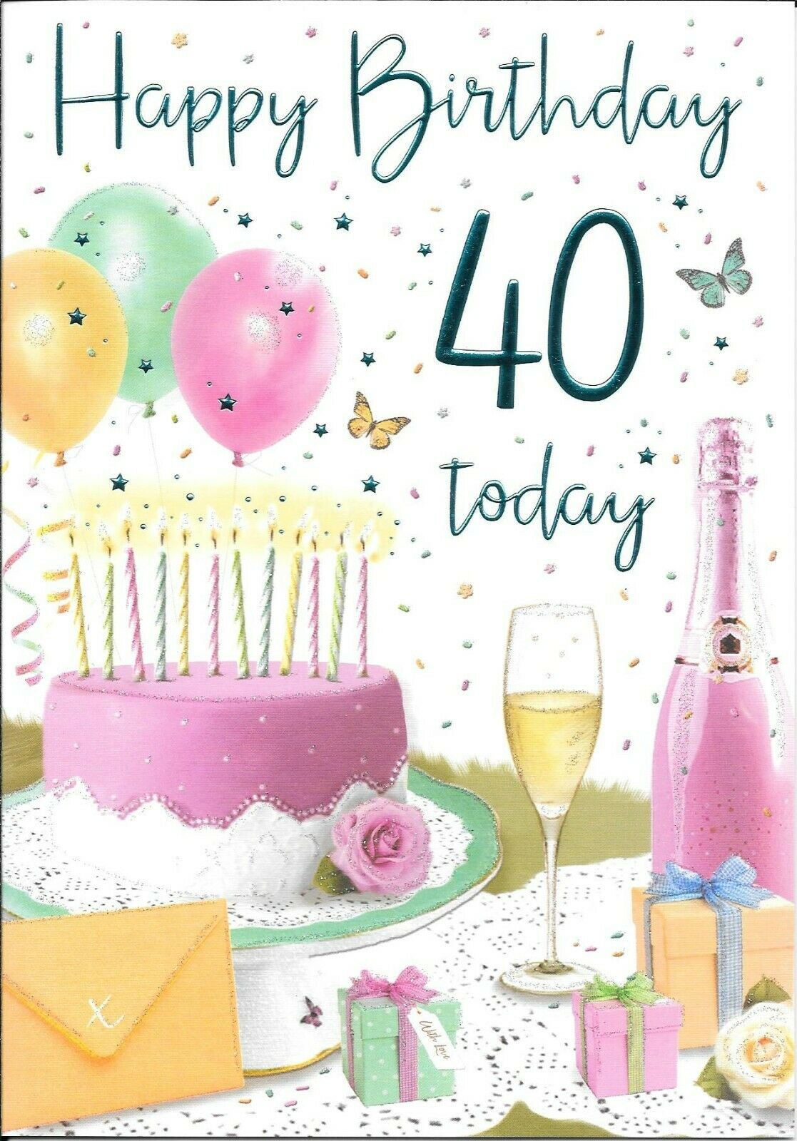 40th 40 Birthday Card Female Luxury Card Sentiment Verse Made In Uk R For Sale Online Ebay