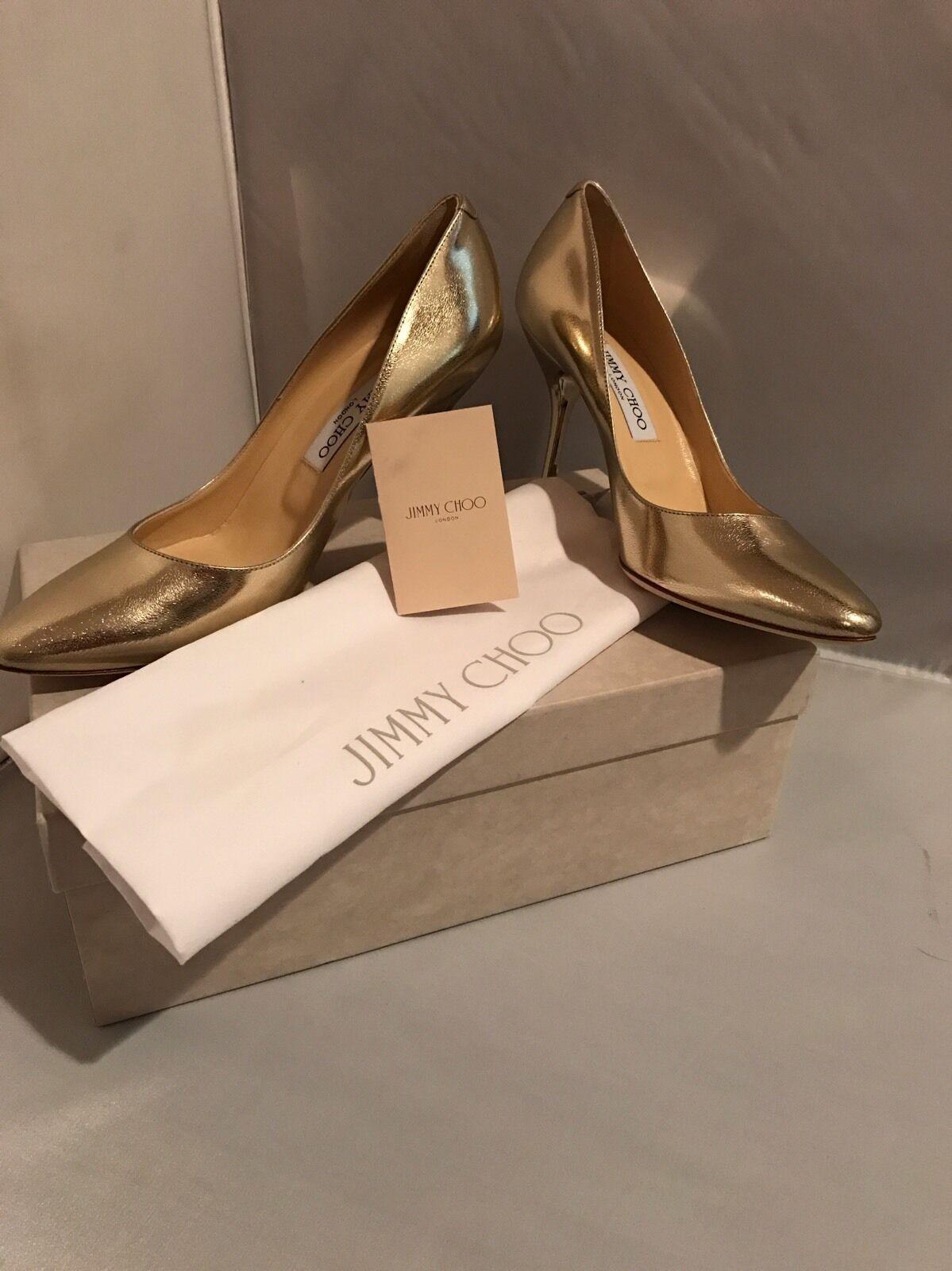 New in Box Jimmy Choo Mei Metallic Leather Pumps- Größe Größe Größe 9 39 0990ea