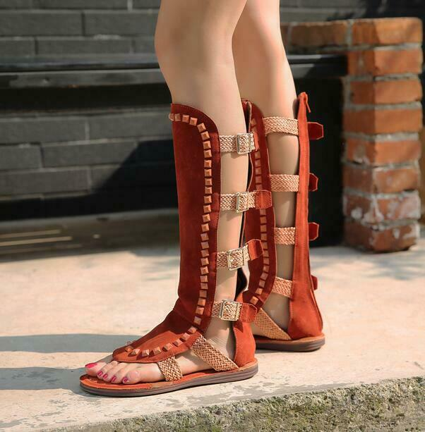 Womens Knee High Roman Gladiator Sandals Flat Long Boots Lace Up Casual Lm14