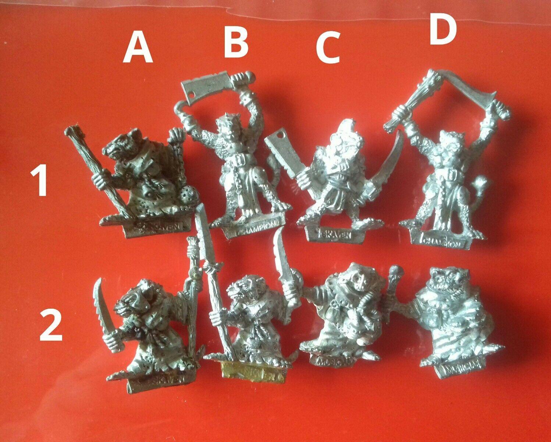 8x Skaven för kommandot och Heros Chaos Ratmän Ratman Citadel GW spelarbetarhop