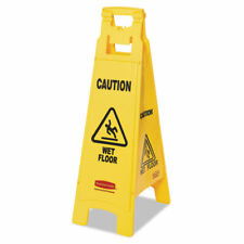 Rubbermaid Commercial Caution Wet Floor Floor Sign 4 Sided Plastic 12 X 16 X 38
