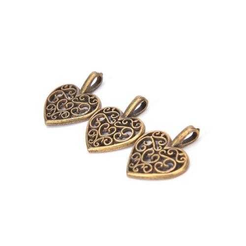 50x Tibetan Silver Bronze Filigree Heart Charms Pendants DIY Jewelry Makings Pip