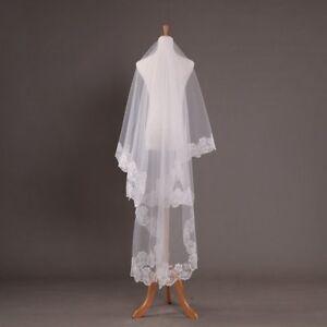 Ivory-1-Layer-Lace-Edge-Vintage-Cathedral-Wedding-Elegant-Bridal-Veil-US-3M