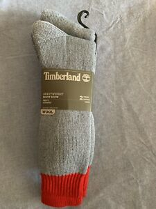 NWT-Timberland-Heavyweight-Boot-Socks-2-Pair-Men-Gray-Red-Will-OSFM
