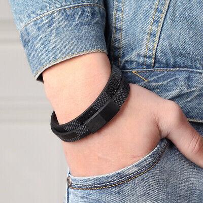 Nachdenklich Herren Armband Kunstleder Armband Stahl Herrenarmband Mann Männer Armband Magnet