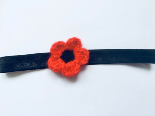 Handmade Crochet Poppy Headband Hairclip Bobble Remembrance Day Lest We Forget