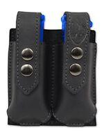 Barsony Black Leather Double Magazine Pouch Norinco Kimber Full Size 9mm 40