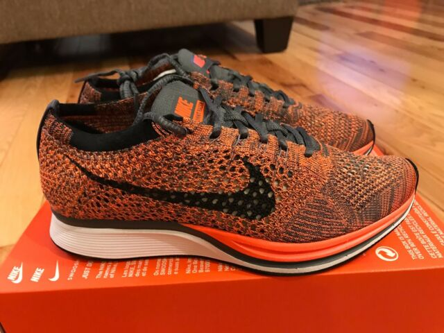 quality design 54cef 40c2e Nike Flyknit Racer Total Orange Dark Grey Halloween 526628 810 Men 5.5   Women 7