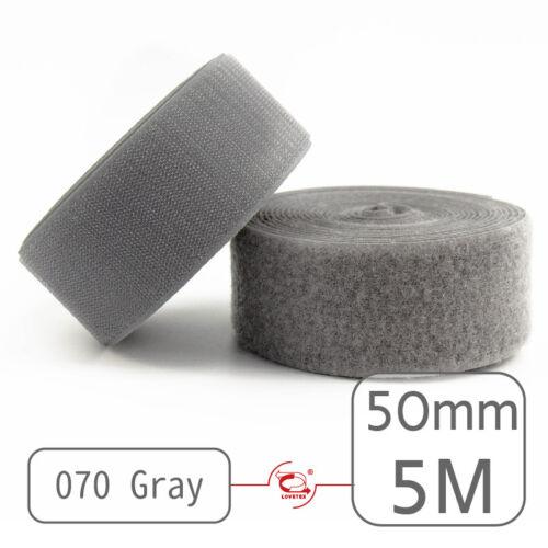 """2/"""" LOVETEX 50mm 5 Meters Sew on Hook and Loop Fastener Tape for 12 Colors"""