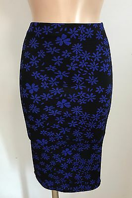 BLACK RED FLORAL MIDI SMART PENCIL WIGGLE CAUSAL SKIRT  SIZE 8-18