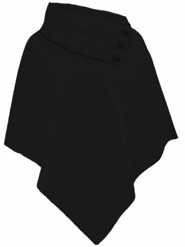 New Ladies Wool Poncho Womens Assymetrical Cape Contrast Button Detail Top