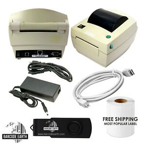 Yellowed-Zebra-LP2844-Z-Printer-Network-Ethernet-Power-USB-Refurbished