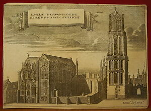 * Engraving Xviii P Devel Gravure Eglise Cathédrale Saint Martin Utrecht Holland