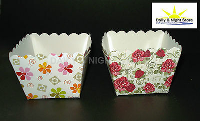 SQUARE CAKE MUFFIN CUPCAKE BAKING CASES MOULDS VINTAGE TEA PARTY ROSES FLOWERS