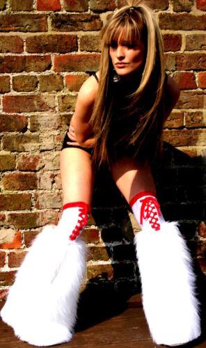 Funki-B Faux MANY COLOURS Lace Plain fur fluffy boot legwarmers neon raver plur