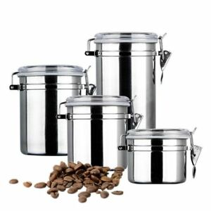 Image Is Loading 4 X Stainless Steel Coffee Container Set Air