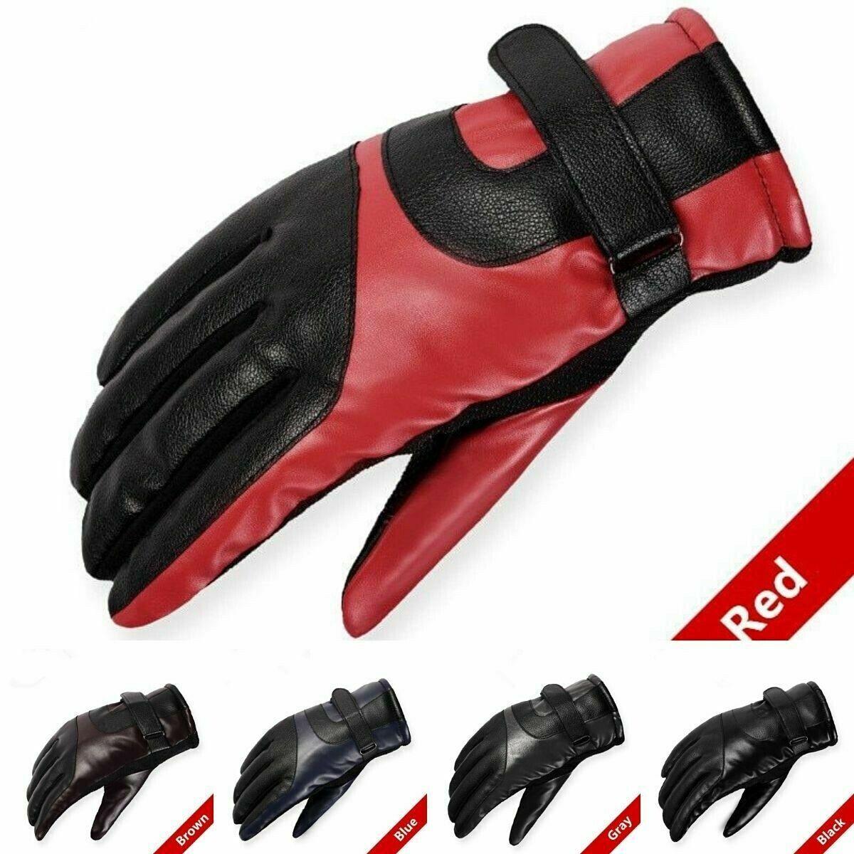 Genuine Leather Men Winter Gloves Warm Fur Lined Driving Black New Fleece Mens