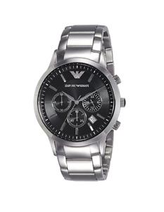 476b5596e9d7 Image is loading New-Emporio-Armani-Classic-Silver-Black-Chronograph-Dial-