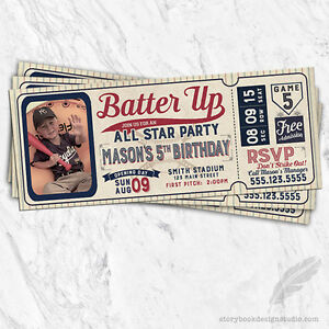 Details About Baseball Ticket Birthday Party Invitations Printed Set Of 10 Bat Ball