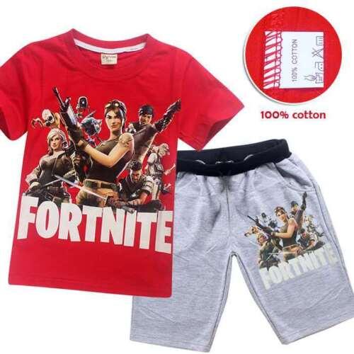 Kids Outsets Outfits Shirt Pyjamas Sleepover Fortnight Black Red Grey Gift UK