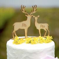 Mr & Mrs Wedding Cake Topper Rustic Laser Cut Wood Deer Cake Topper 164