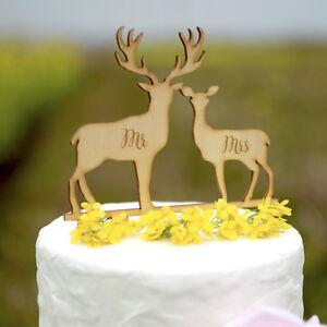 Mr mrs wedding cake topper rustic laser cut wood deer cake topper image is loading mr amp mrs wedding cake topper rustic laser junglespirit Choice Image