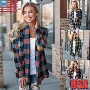 Women Plaid Check Button Hoodie Jacket Coat Fall Longline Loose Candigan Outwear