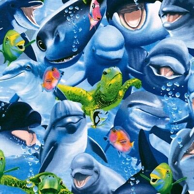 Dolphins Cotton Quilting Fabric  50 x 55cm Fat Quarter Children Of The Sea 2