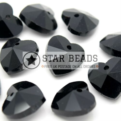 PICK COLOUR 10 X CRYSTAL 14MM FACETED GLASS HEART JEWELLERY MAKING PENDANTS