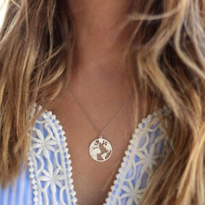 World map necklace gold color earth day gift pendants thin neck image is loading world map necklace gold color earth day gift freerunsca Gallery