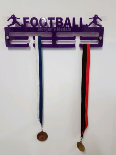 Female Football Medal hanger Medal Holder 5mm Acrylic 2 Tier Personalised