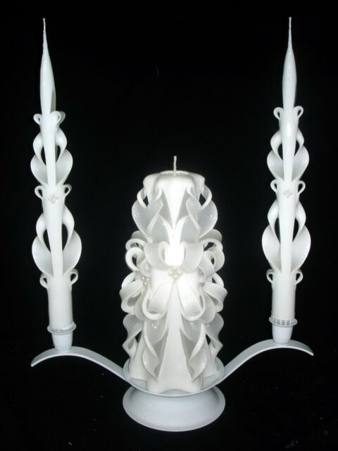 Gorgeous carved Wedding unity candles FREE shipping & YOUR colors, names & date