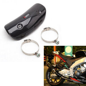 Universal-Motorcycle-Exhaust-Middle-Link-Pipe-Heat-Protector-Real-Carbon-Fiber