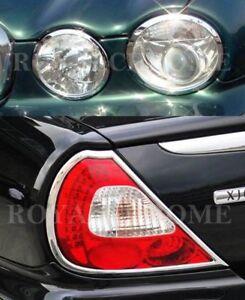 FAST-EMS-COMBO-Set-CHROME-HeadLight-amp-Rear-Light-Surrounds-for-JAGUAR-XJ-XJR