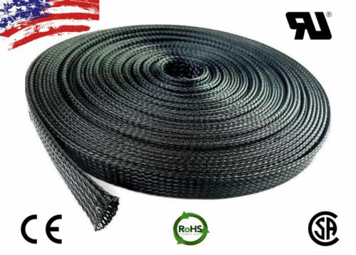 """5 FT 3//4/"""" Black Expandable Wire Cable Sleeving Sheathing Braided Loom Tubing US"""