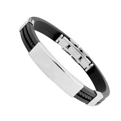New Hot Fashion Men Black Bracelet & Bangles Jewelry Cuff Stainless Steel Cool